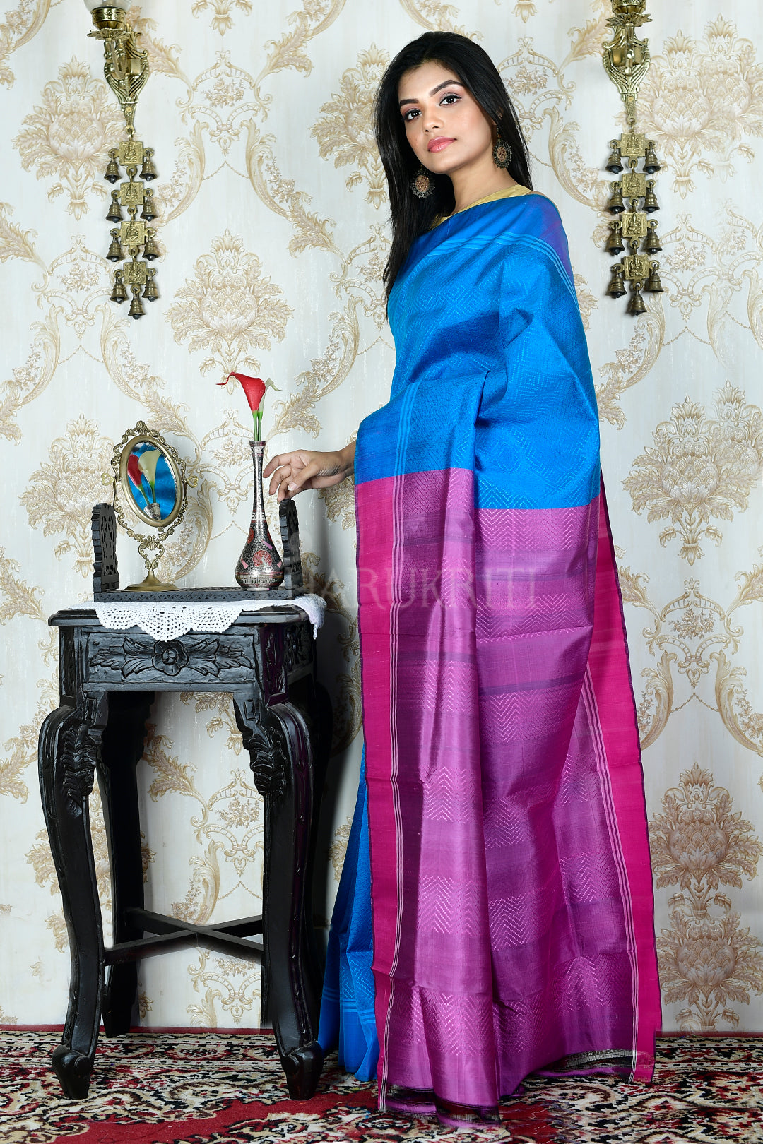 SKY BLUE  ALL OVER WEAVED KATAN SILK SAREE WITH PINK  PALLU