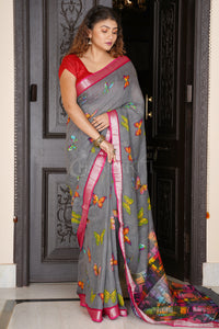 GREY BUTTERFLY PRINTED LINEN SAREE WITH MAROON ZARI BORDER