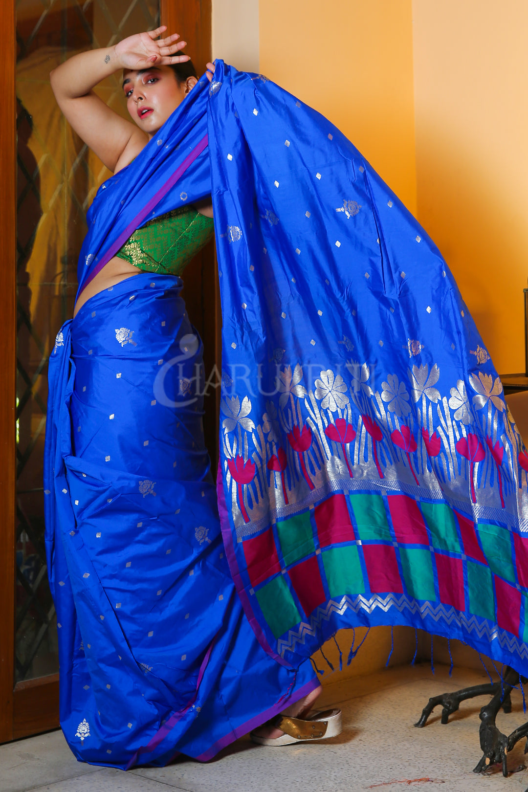 ULTRAMARINE BLUE KATAN SILK WITH MULTICOLORED WEAVED PALLU
