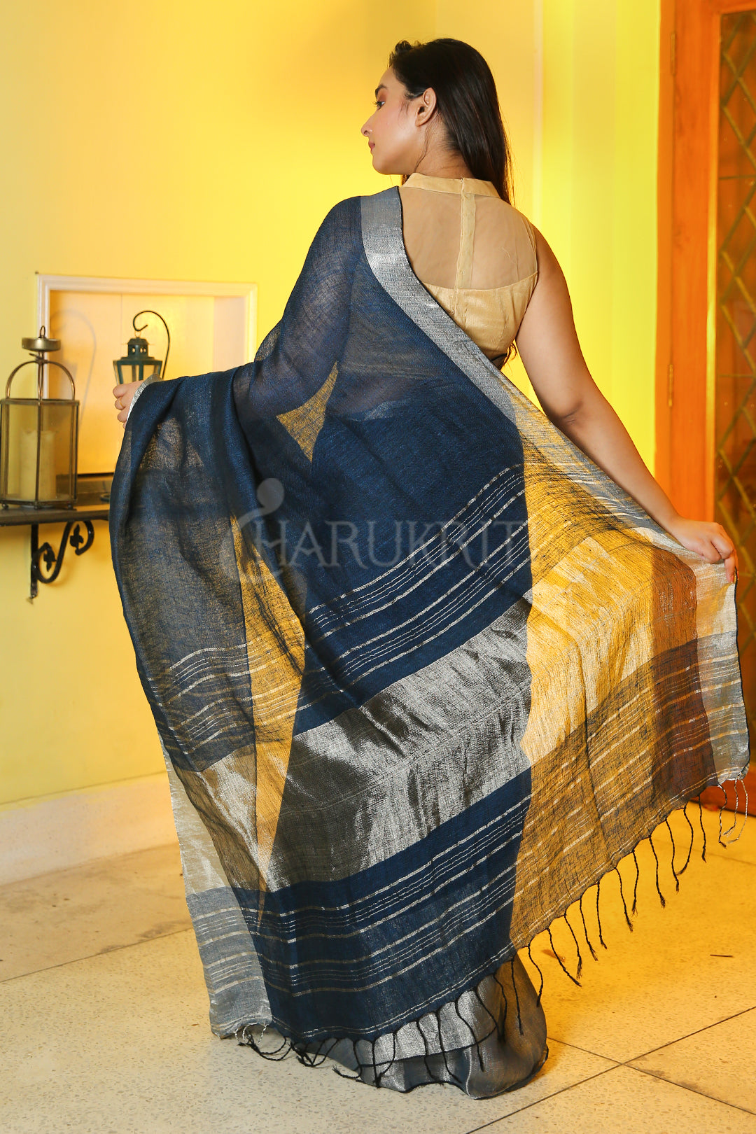 PRUSSIAN BLUE PURE LINEN WITH SILVER BORDER AND PALLU
