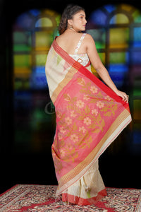 BEIGE BLENDED COTTON SAREE WITH TEMPLE BORDER AND RED WEAVED PALLU