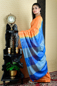 ORANGE BLENDED COTTON SAREE WITH GHEECHA STRIPES AND ROYAL BLUE  PALLU