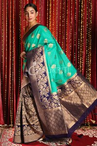 SEA GREEN AND NAVY BLUE HALF & HALF BANARASI SAREE WITH BROCADE DESIGN