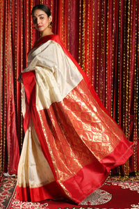 MILK WHITE KORIAL SILK WITH RED BORDER