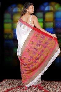 WHITE BLENDED COTTON SAREE WITH TEMPLE BORDER AND RED WEAVED PALLU