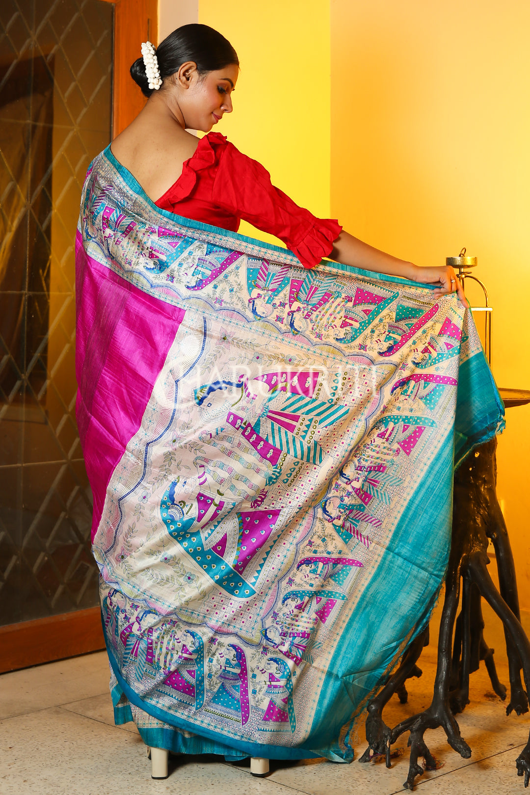 DEEP PINK  MADHUBANI SILK SAREE WITH GHEECHA WEAVING AND SKY BLUE BORDER