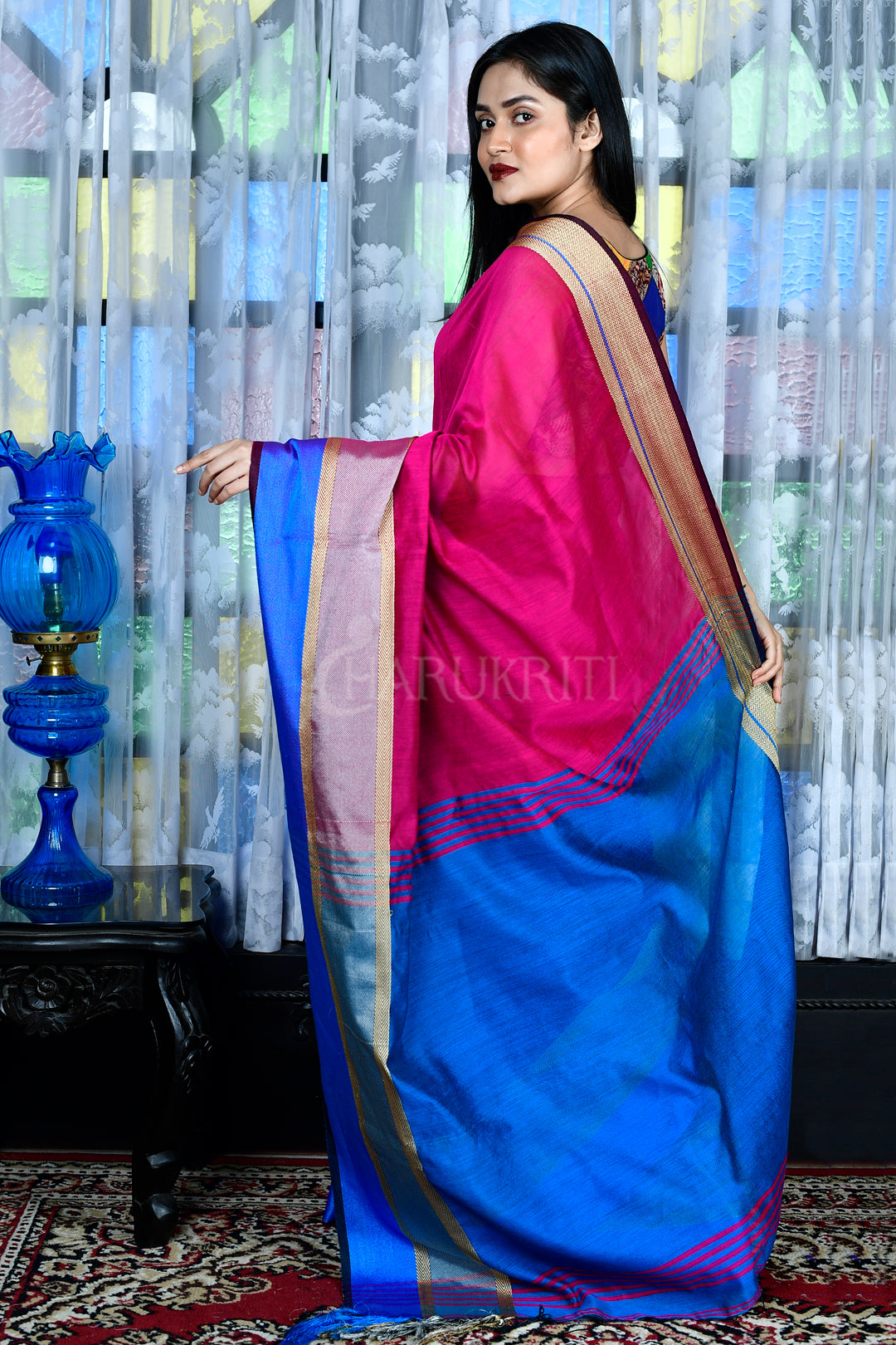 MAGENTA BLENDED COTTON  SAREE WITH  BORDER AND BLUE PALLU