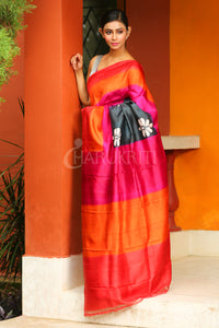 CHARCOAL BLACK FLORAL PRINTED PURE SILK SAREE WITH DUAL BORDER