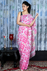 White Jamdani Saree With All Over Pink Thread Weave - Charukriti.co.in
