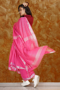 PINK PURE COTTON SAREE WITH SILVER BORDER