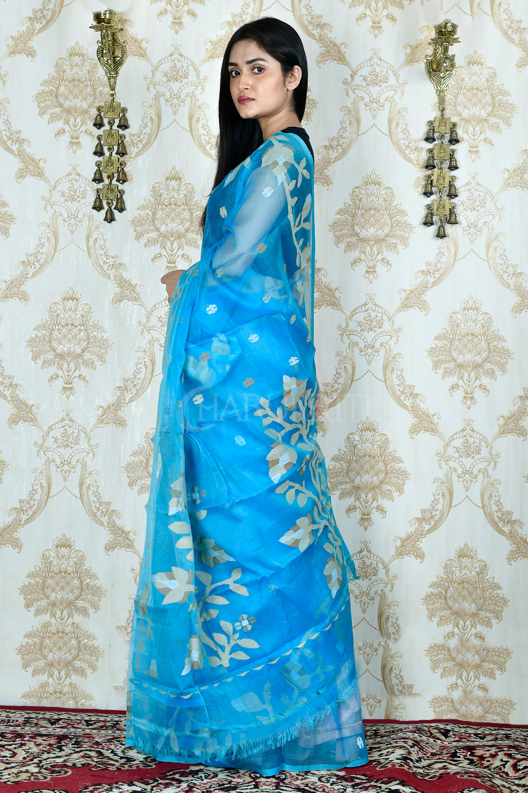 OCEAN BLUE RESHAM JAMDANI WITH FLOWER MOTIF WEAVING