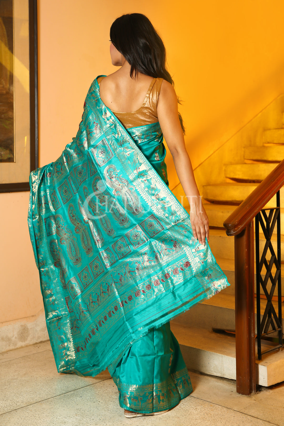 CYAN BLUE SWARNACHARI  SAREE WITH GOLDEN THREAD WEAVING AND PALLU