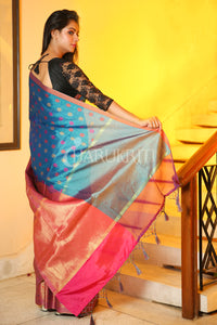 SAPPHIRE BLUE AND PINK HALF BROCADE HALF KORA TANCHOI SAREE - Charukriti.co.in