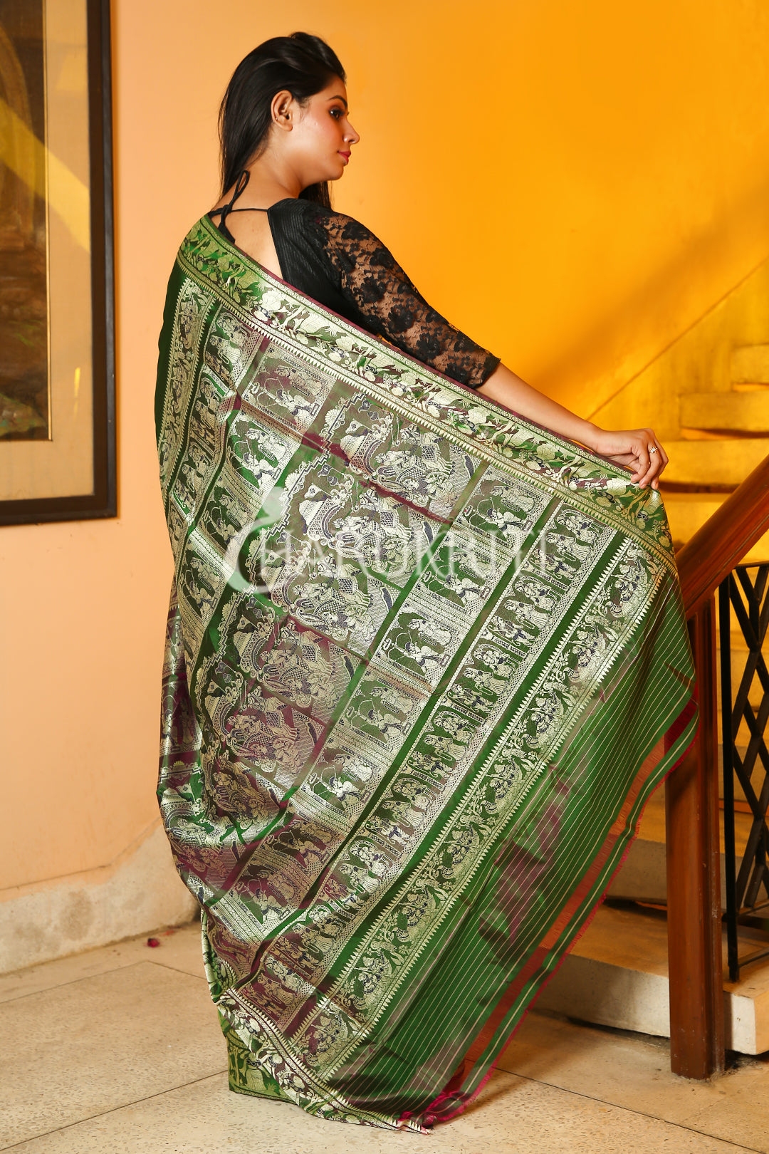GREEN DUAL TONE BALUCHARI ON KATAN SILK WITH BEIGE  FIGURE MOTIF