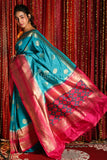 SKY BLUE MANIPURI KOTKI GARDWAL SAREE WITH MAGENTA ZARI BORDER AND PALLU