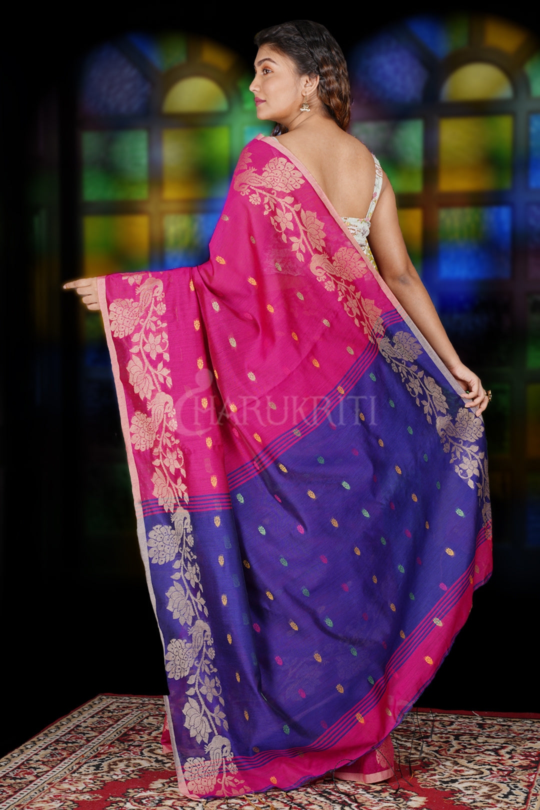 MAGENTA SAREE WITH PEACOCK MOTIF WEAVED BORDER & NAVY BLUE PALLU