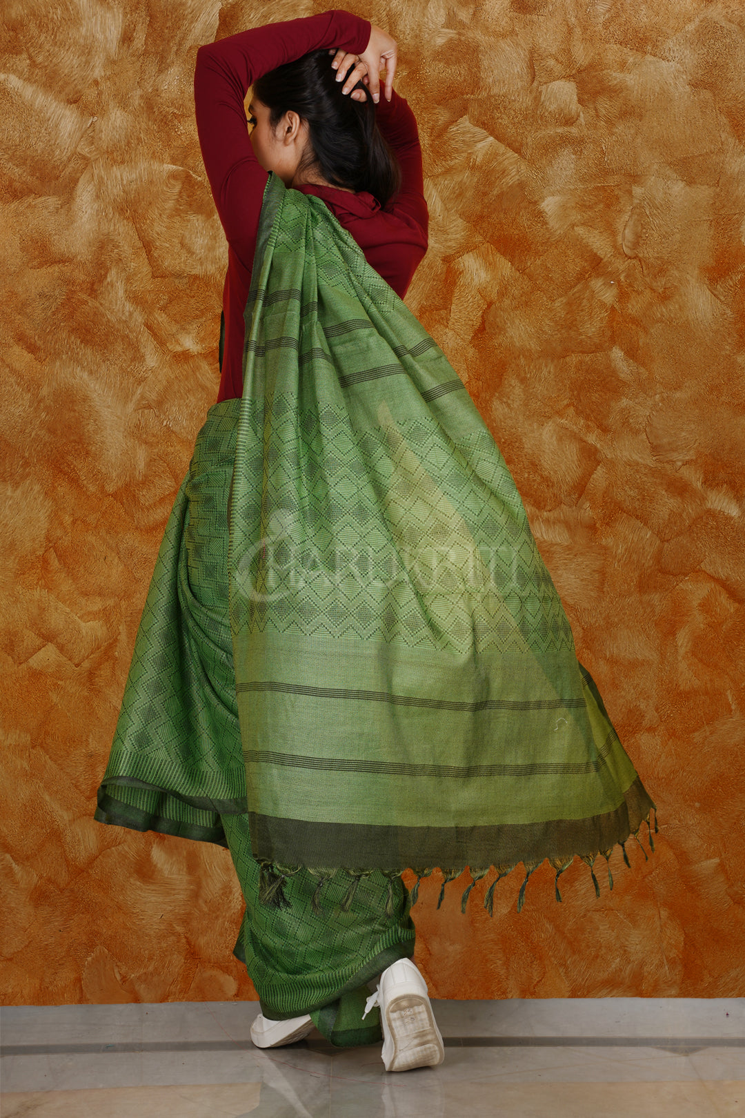 JADE GREEN KORA SILK SAREE WITH WOVEN DESIGN