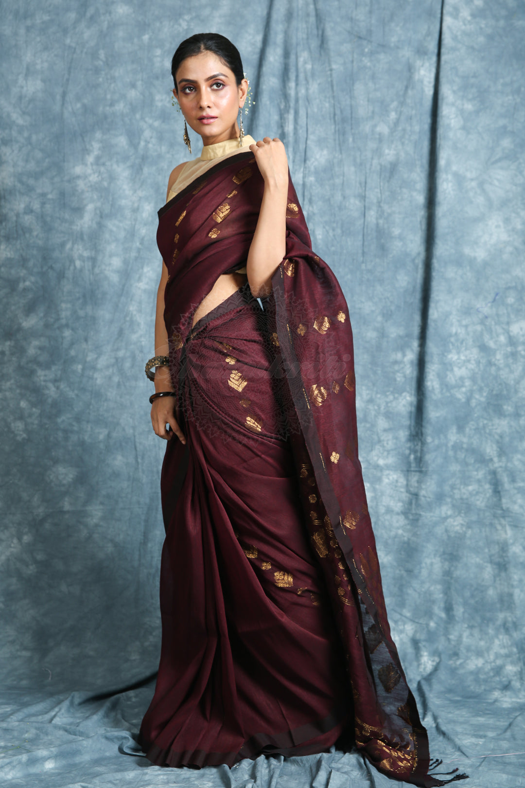 Mahogany Brown Linen Saree With Allover Leaf Motif Weaving