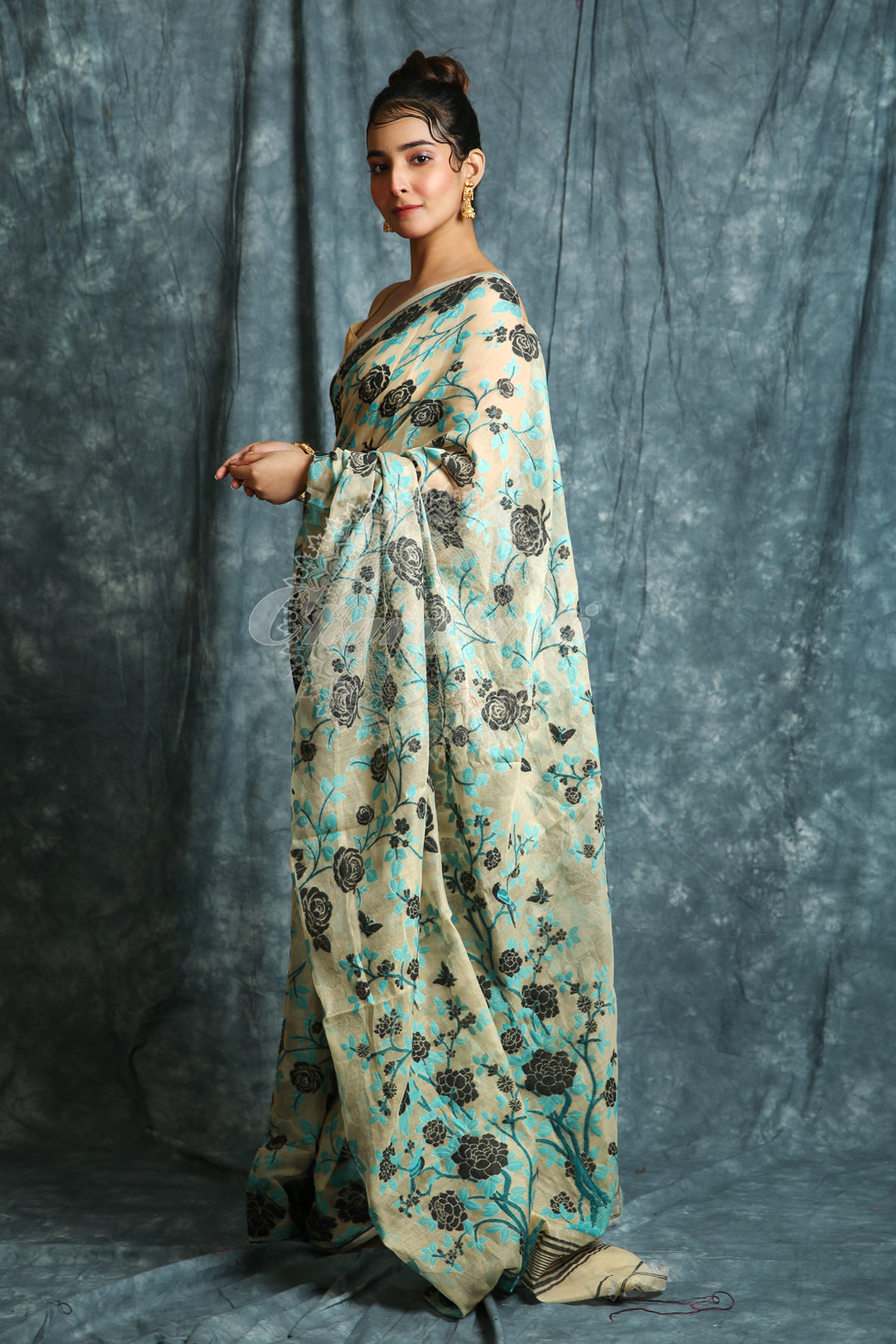 Beige Jamdani Saree with Allover Floral Weaving