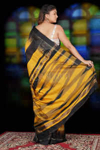 YELLOW AND BLACK IKKAT WEAVING BLENDED COTTON SAREE WITH ZARI PALLU