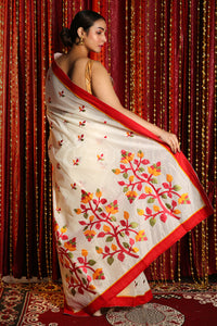 WHITE BLENDED SILK SAREE WITH MULTICOLOR EMBRROIDERY WORK