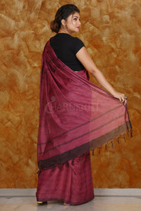 MAGENTA KORA SILK SAREE WITH WOVEN DESIGN