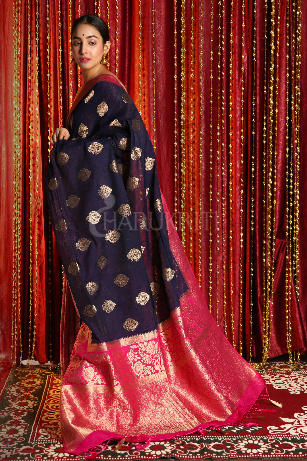 MIDNIGHT BLUE AND PINK HALF & HALF BANARASI SAREE WITH BROCADE DESIGN