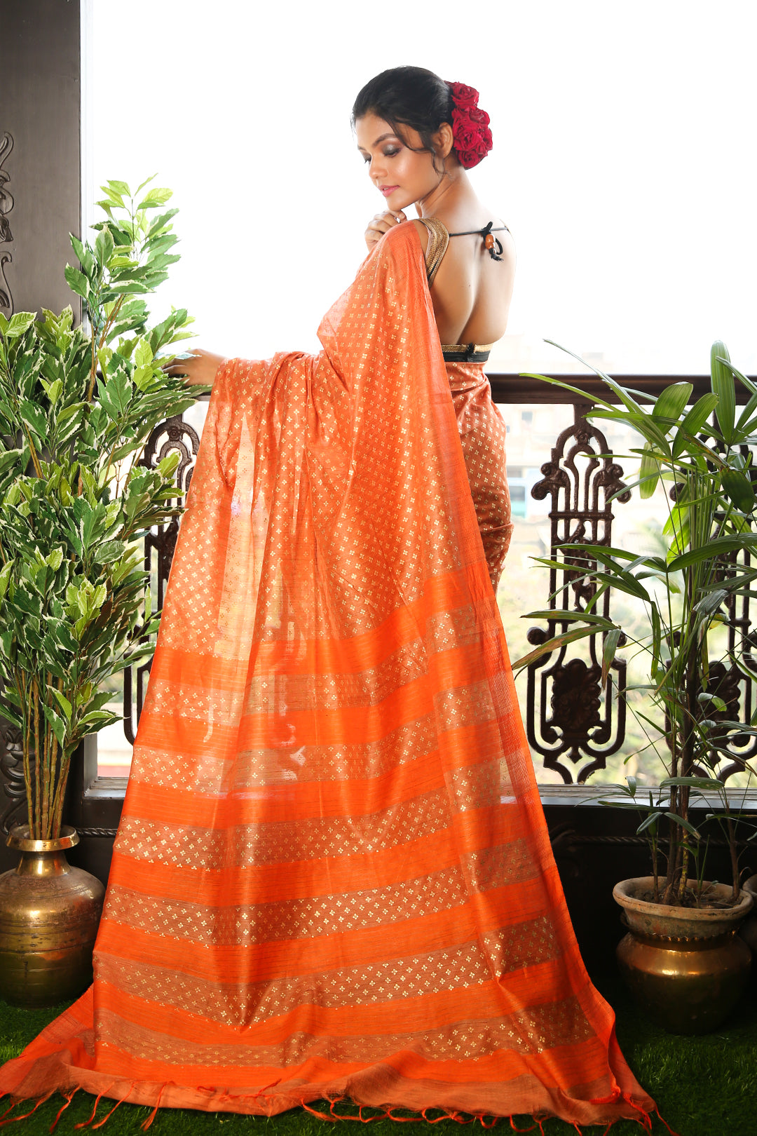ORANGE BLENDED MATKA SAREE WITH ALLOVER GOLDEN PRINTED BUTA