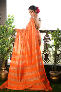 Orange Blended Matka Saree With All Over Golden Printed Buta