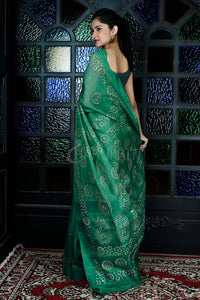 PINE GREEN  BLENDED GHEECHA WITH BATIK PRINT