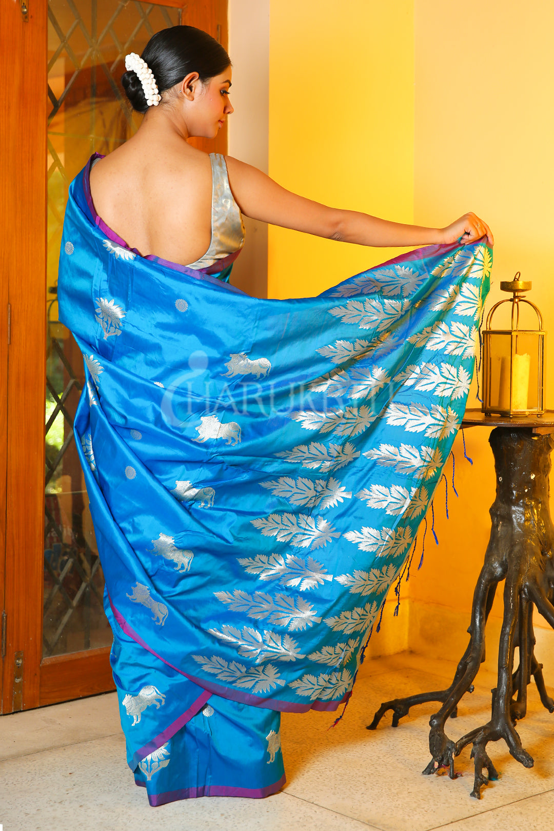 SKY BLUE KATAN SILK SAREE WITH SILVER ZARI WOVEN AND PALLU