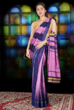 LIGHT PINK AND NAVY BLUE IKKAT WEAVING BLENDED COTTON SAREE WITH ZARI PALLU