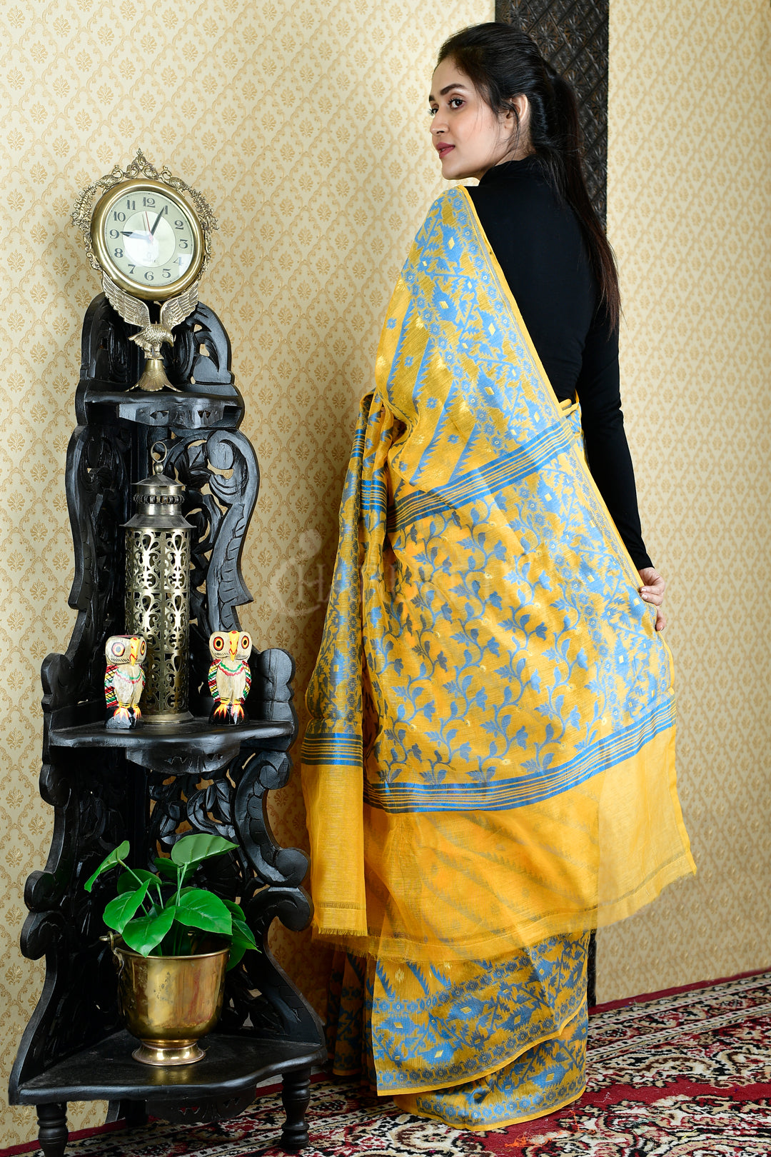 Yellow Banarasi Jamdani Saree With Sky Blue All Over Weaving - Charukriti.co.in