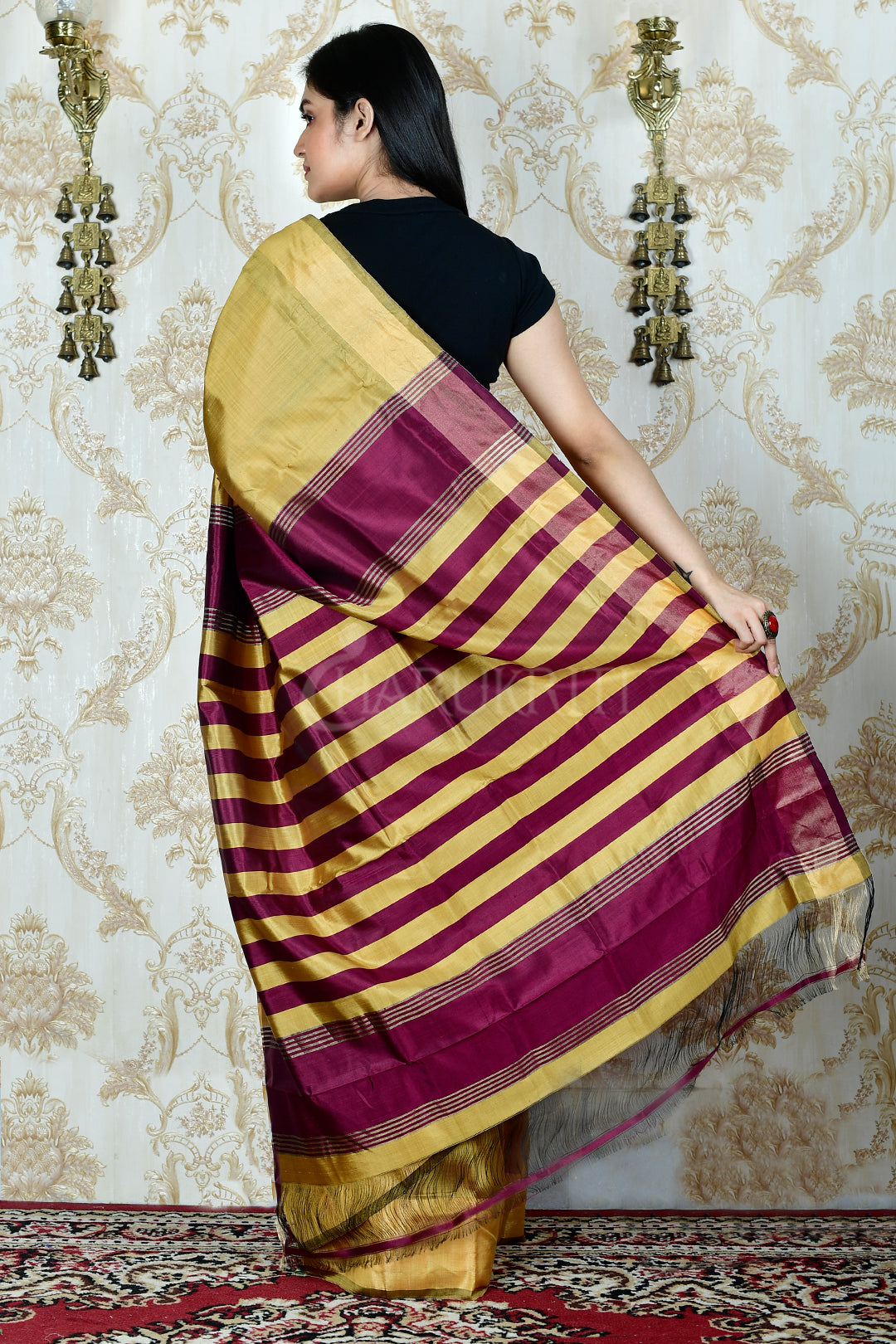 FLAXEN YELLOW KATAN SILK WITH MULBERRY PALLU AND  ZARI BORDER