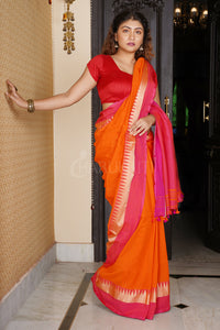 ORANGE PURE COTTON SAREE WITH PINK DUAL TEMPLE BORDER