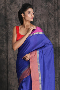 BLUE HANDLOOM SAREE WITH WIDE DUAL TONE BORDER