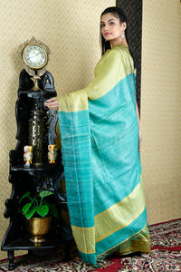 LIGHT KELLY GREEN GHEECHA SAREE WITH  PALLU