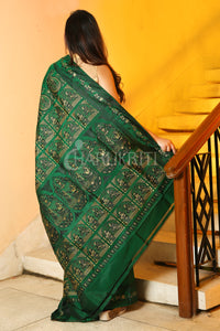 Sacramento Green Baluchuri Saree With Black Silk Thread Weaving