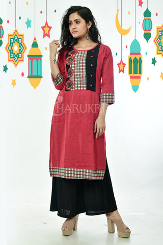 Red pure cotton Kurti with Checkered Border