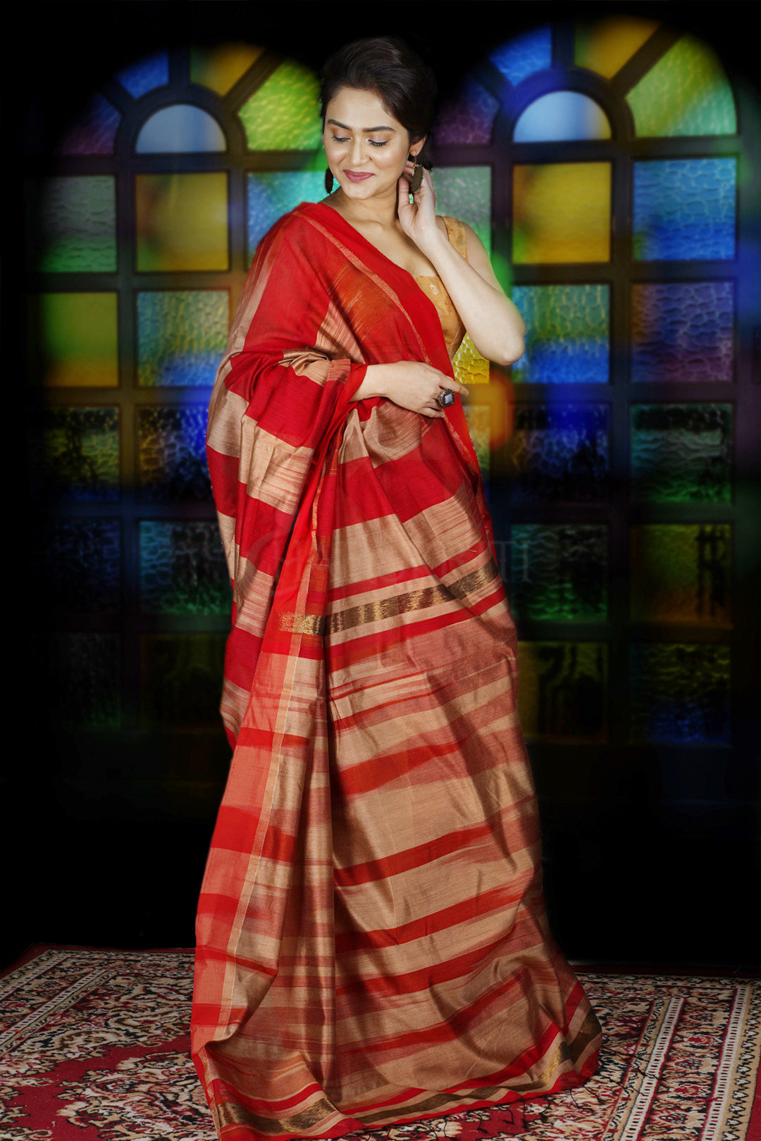 RED AND GOLDEN IKKAT WEAVING BLENDED COTTON SAREE WITH ZARI PALLU