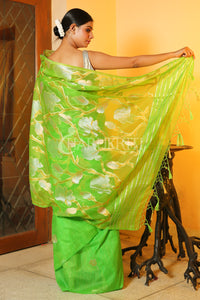 KELLY GREEN MASLIN WITH FOLRAL WEAVING BODY AND PALLU
