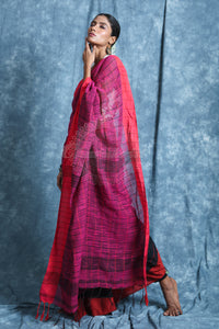 Black And Pink Half & Half Handloom Saree With Checks