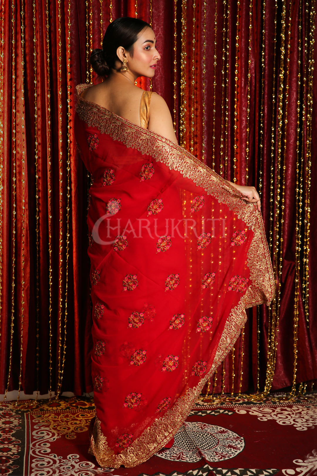RED CHIFFON SAREE WITH FLORAL JARDOSI WORK
