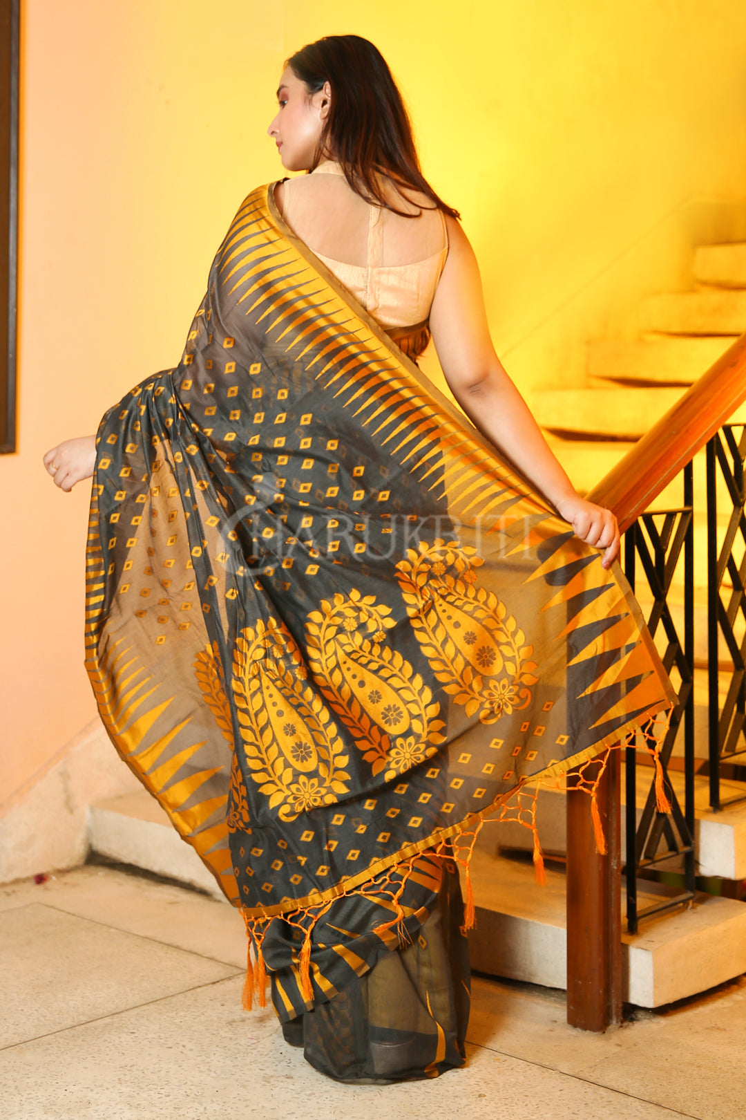 DARK GREY BANARAS JAMDANI SAREE WITH YELLOW ALLOVER BUTTA & THREAD WEAVED