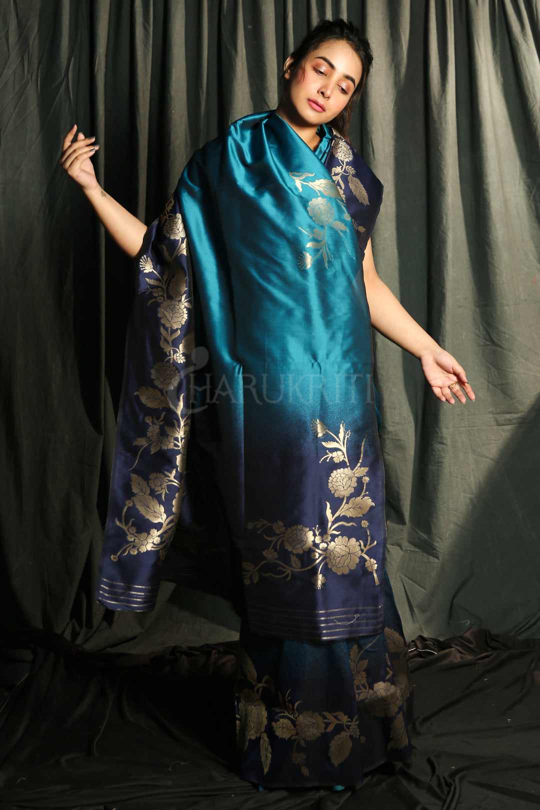 TEAL  BLUE AND NAVY BLUE DUPION SILK SAREE WITH GOLDEN FLORAL BORDER