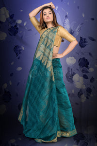 PEACOCK BLUE CHANDERI COTTON WITH WOVEN DESIGN
