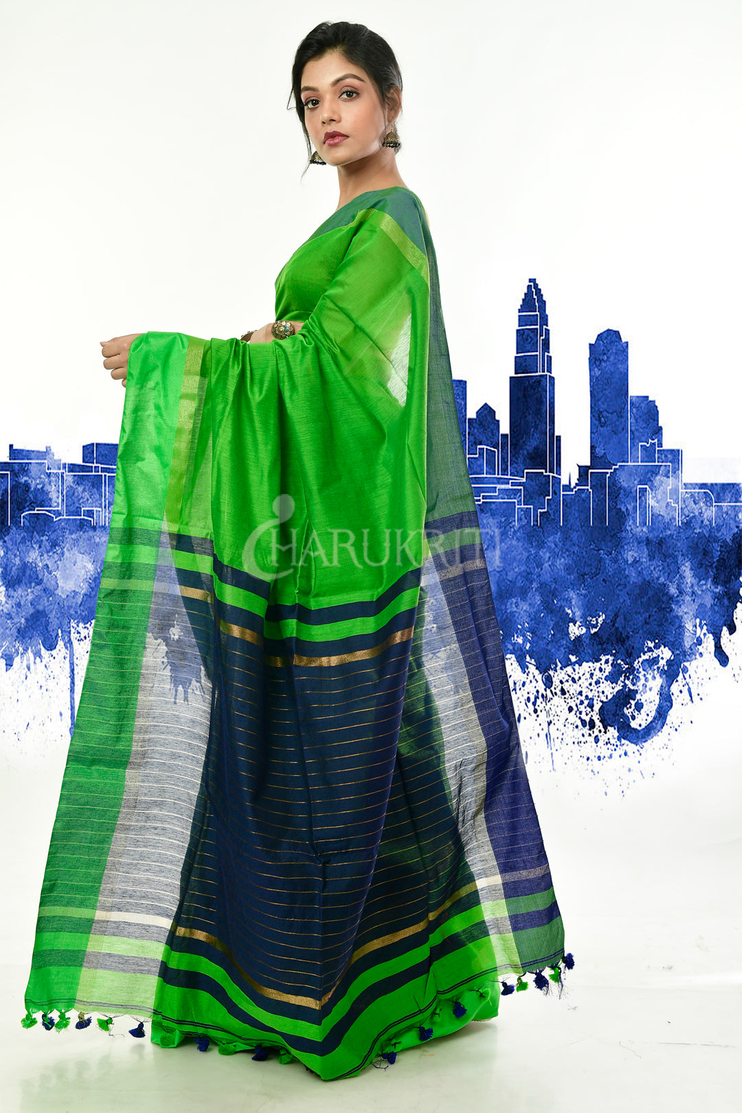 GREEN BLENDED COTTON SAREE WITH ROYAL BLUE PALLU