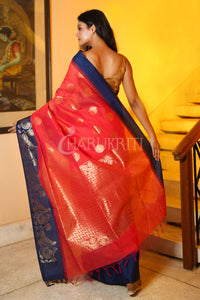 Coral Red Chanderi Silk Saree With Blue Temple Border And Zari Pallu - Charukriti.co.in