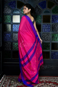DEEP MAGENTA WOVEN PURE COTTON SAREE WITH BLUE BORDER