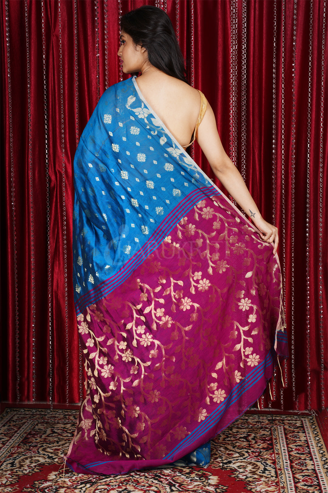 ROYAL BLUE BLENDED COTTON SAREE WITH ALLOVER ZARI DESIGN & MAGENTA PALLU